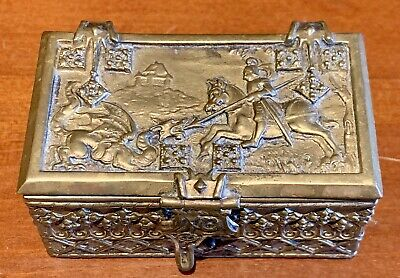 Very Interesting Antique Brass Box Depicting St. George Slaying The Dragon.