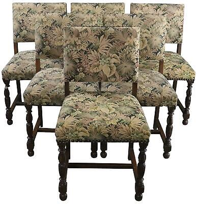Dining Chairs Renaissance 1930 Set 6 Oak Green Foliage Tapestry Uphol