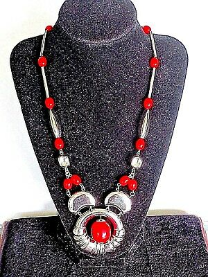 Original Art Deco Jakob Bengel Necklace  Red Galalith And Chrome