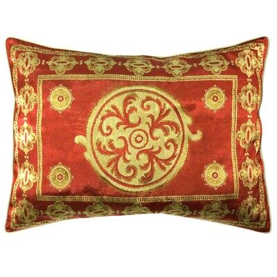 Jacquard Satin Far-East Style Floral Pattern Red-Gold Pillow Case/Cushion Cover