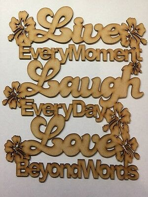 Wooden Mdf Live Laugh Love Baubles tags christmas CFE75