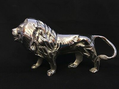 "Regal Standing Lion 10"" Silver Cast Metal Sculpture King Of The Jungle Figurine"