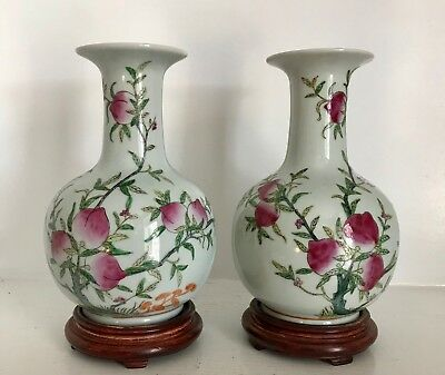 """Pair Vintage 9"""" Chinese White Porcelain PeachTree & Fruit Vases ~Stands ~Marked"""