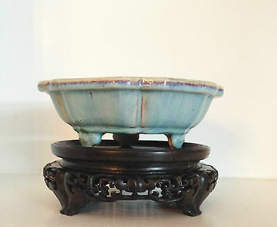 RARE Antique Qing Chinese Junyao Jun Narcissus Bowl (18-19th C) ~Antique Stand~