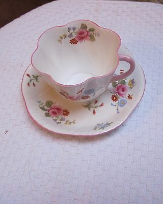 Shelley Rose and Red Daisy (dainty) Cup and Saucer #13425