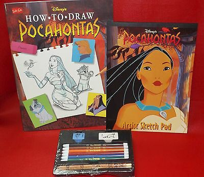 Disney How to Draw Pocahontas Portable Art Studio w/ Sketch Pad & Drawing Kit