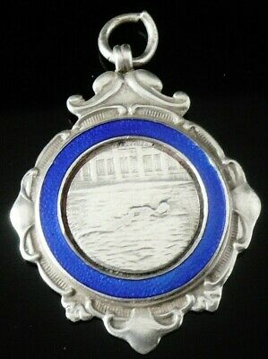 Silver Enamel Pocket Watch Fob Medal, FATTORINI 1921, Swimming