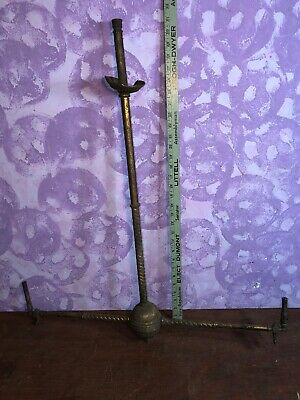 Rare Victorian Antique Vintage  Brass Gas 2 Light Chandelier