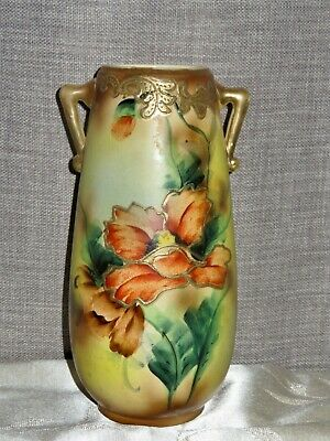 antique hand painted vase, stands 22.5cm high