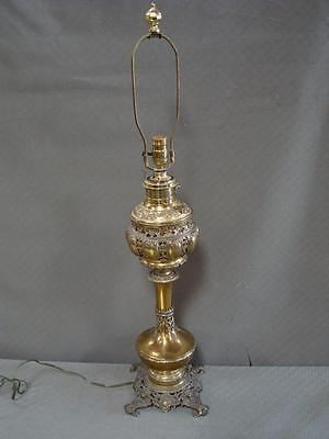 """22.5"""" tall Antique Vintage Ornate Detail Brass Table Lamp converted to electric"""