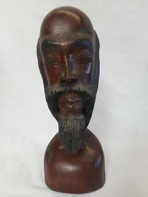 "12'' Wood Carved Folk Art Bust Figure of Male w/ Beard ""Jamaica June 1983"""