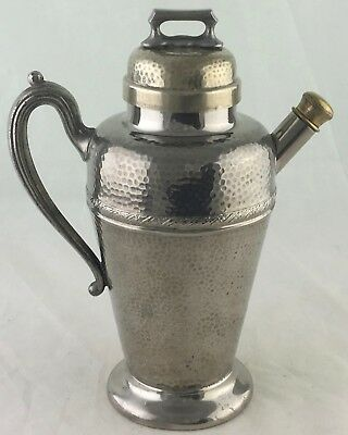 Antique Cocktail Shaker Party Drink Mixer Hammered Silver Plate,Brass & Cork