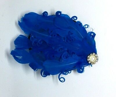 Blue Pink Red Feather Hair Clip  Wedding Fascinator  Party Vintage