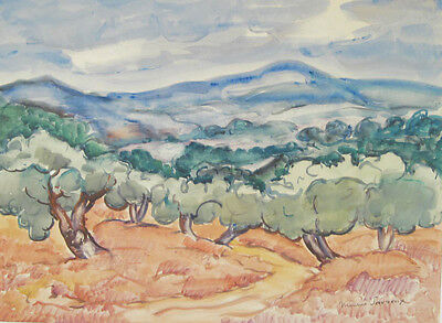 Maurice Savreux (French 1884-1971) Watercolor Painting Landscape Provence Signed