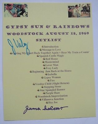 Jimi Hendrix Signed Woodstock 1969 Typed Set List Member Juma Sultan Jerry Velez
