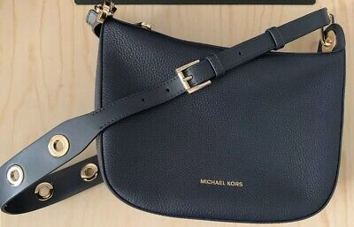 8a71b76f8496 MICHAEL KORS BARLOW Medium Pebbled Leather Messenger Crossbody Bag ...
