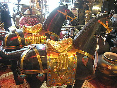 """Pair of Chinese Ancient Jeweled Bronze Statues of Horses 23"""" Tall"""