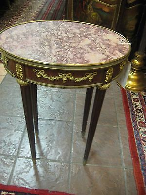 Elegant French Louis Xv Style Bronze Decorations, Marble Top 19Th C Center Table