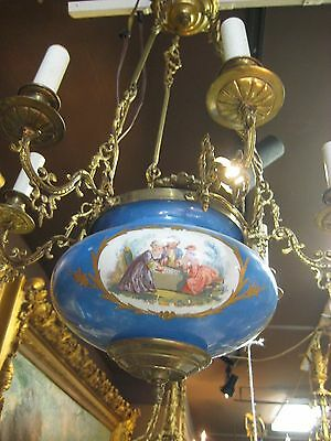 19th Century Sevres Porcelain with 24K Dure Bronze 6 Lights Chandelier