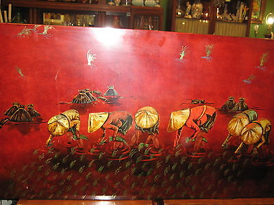 Beautiful  Antique 19th Century Chinese Hand Curved & Painted Wood Lacquer Panel
