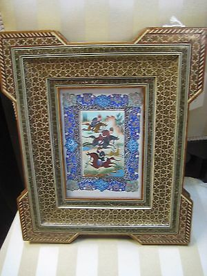 Persian Miniature Wood Framed Hand Painted Painting