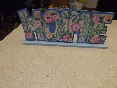 """Wooden Sign Country HOME Table Top Plaque Painted flowers Vines 14"""" X 6""""T"""