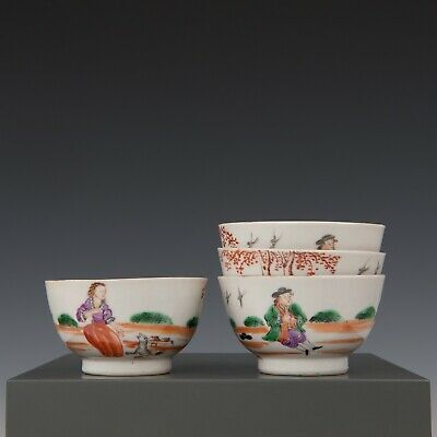 Nice rare set of 4 Chinese mandarin porcelain tea bowls, Dutch couple, 18th ct.