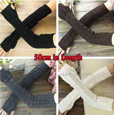 Womens Winter Gloves Fingerless Hand Arm Warmers Ladies Stretch Knitted Mittens
