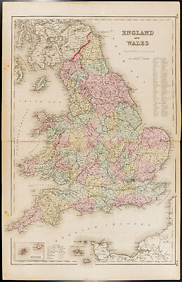 Grande carte ancienne (1857) Angleterre, Colton. Antique Map England and Wales
