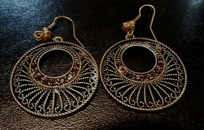 Vintage Brass colored Drop Earrings with 6 shining brown glass beads=Price reduc