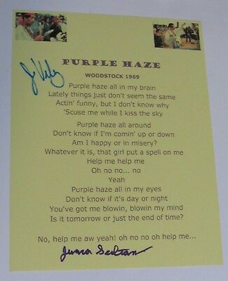 Jimi Hendrix Signed Woodstock 1969 Typed Lyric Purple Haze Bandmates Juma Sultan