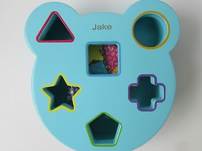 SON NAMED JAKE? Brand New Personalised Wooden Shape Sorter with 5 Shapes
