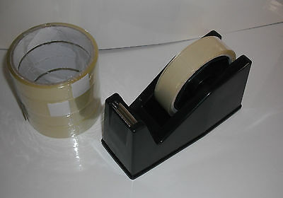 Desktop Heavy Duty Weight Sellotape Cellotape Tape Dispenser Holder 4 Free Rolls