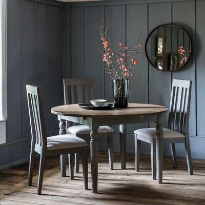 Frank Hudson Gallery Direct Cookham  Round Oak Extending Dining Table - Grey