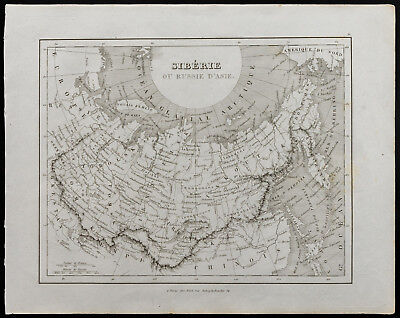 Antique Old Map of 1836c: Siberia or Russia D' Asia