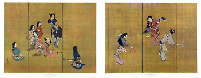 SHIBATA ZESHIN Rare c1951 MidCentury Set of 2 Collotype Lithos SAMURAI & DANCERS