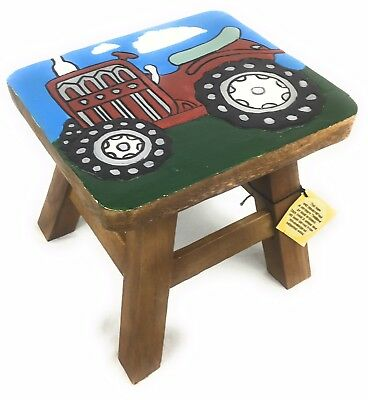 Solid Wood Hand Carved Small Child's Kid's Stool Furniture Painted Red Tractor