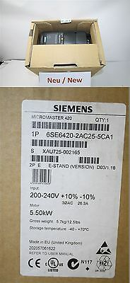 Siemens Micromaster 420 6se6420-2ac25-5ca1 Frequency Converter 5,5 Kw