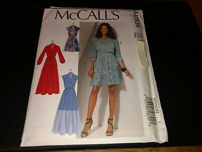 McCalls Pattern M7534 Ms Dresses w//Wrap Bodice~Sleeve /& Length Variations