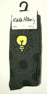 1 Pair Keith Haring Bright Light Bulb Style Art Crew Socks Size 10-13