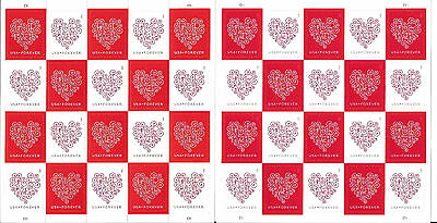 COUNTERFEIT Forever Hearts Sheet of 20, Authentic Sheet of 20, Scott #4955(CF1)a