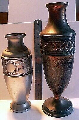 Two Vintage Neoclassical Styled - Greek Roman - Copper - (Plated)  Urns Vases