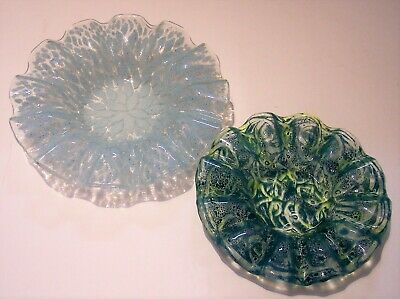 2 Sydenstricker modern fused art glass ruffled lace dish bowl green blue Ma USA
