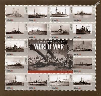 Royal Navy Warships of World War I WWI Ship Stamp Sheet # 3 (2015 Guyana)