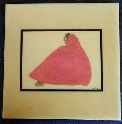 "ART Co. ~ 7¾"" DECORATIVE CERAMIC TILE ~ 522 Pink Shawl ~ Signed by R. C. Gorman"