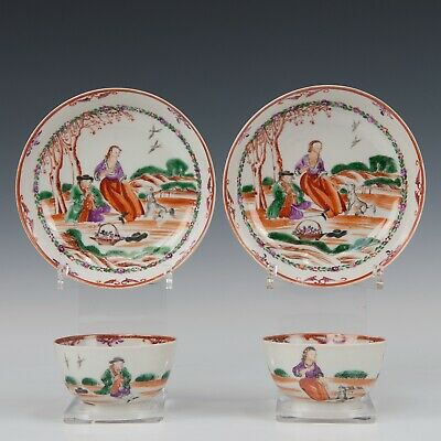 Nice pair of Chinese mandarin porcelain cups & saucers, Dutch couple, 18th ct.