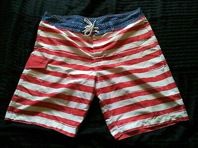 0ac7115b2f Old Navy Mens Swim Trunks Size XL American Flag Red White Blue Board Shorts  40