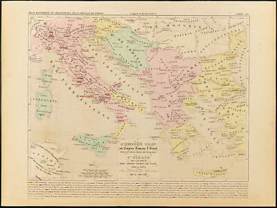 1859. Empire Greek or Roman from the East + Italie. Antique Old Map of Houze