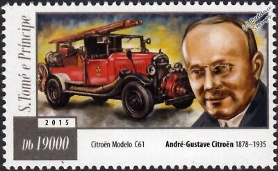 André-Gustave Citroën & CITROEN Model C61 Fire Engine Vehicle Stamp (2015)