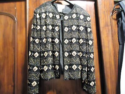Papell Boutique Evening Black SIlk- Gold Embroidered & Beaded Jacket L